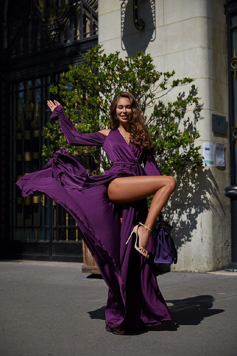 Сливовое платье в пол прокат киев