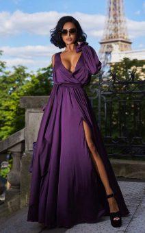 вечернее шелковое платье в пол с рукавами прокат киев