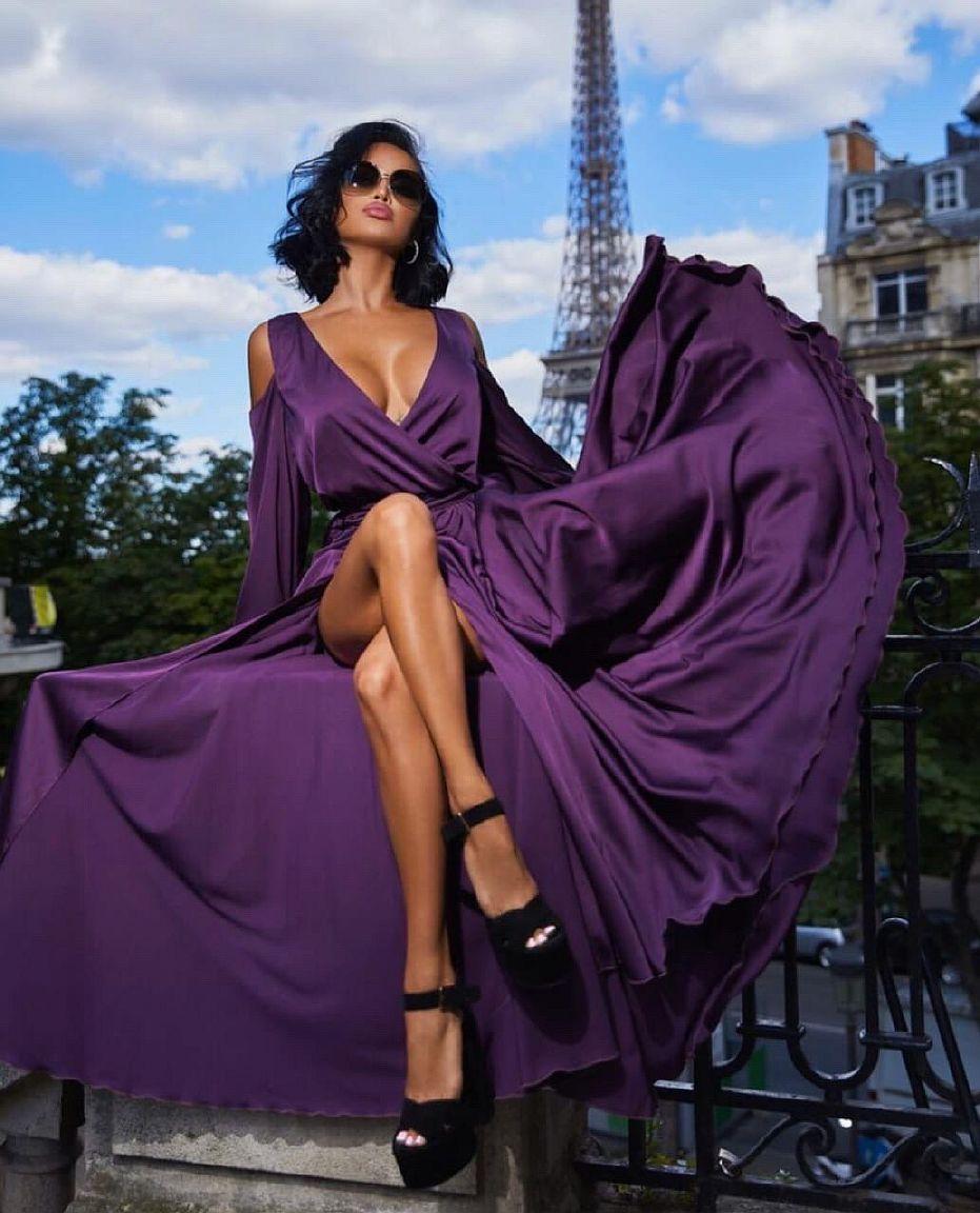 Сиреневое платье в пол напрокат киев