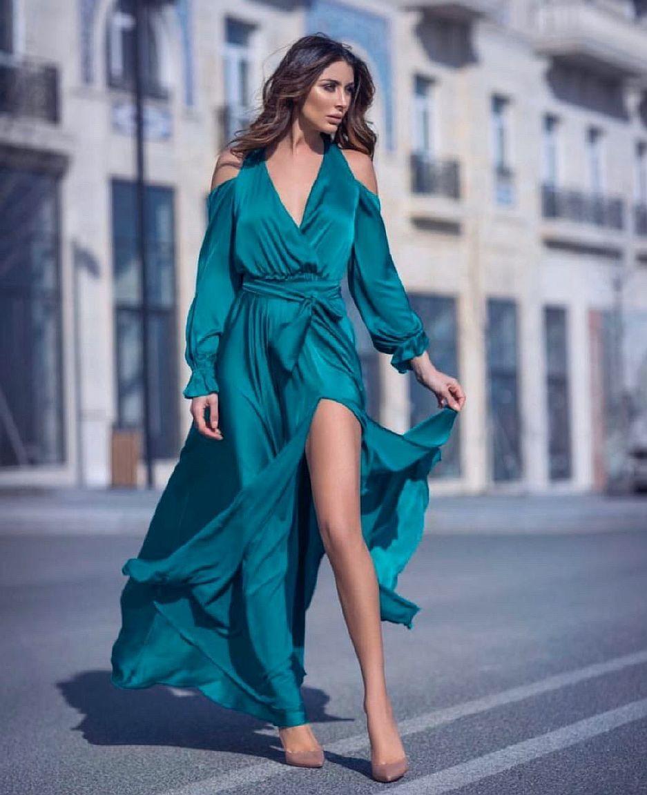 изумрудное платье в пол с рукавами киев