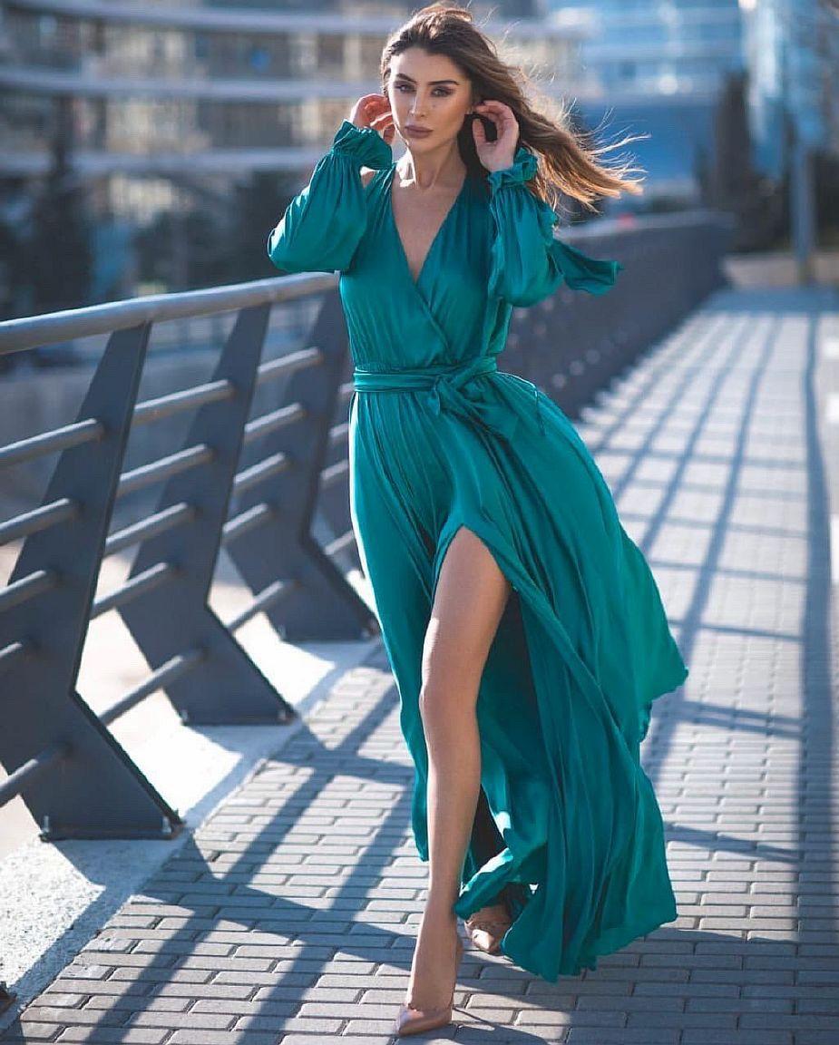 изумрудное платье в пол с разрезом киев