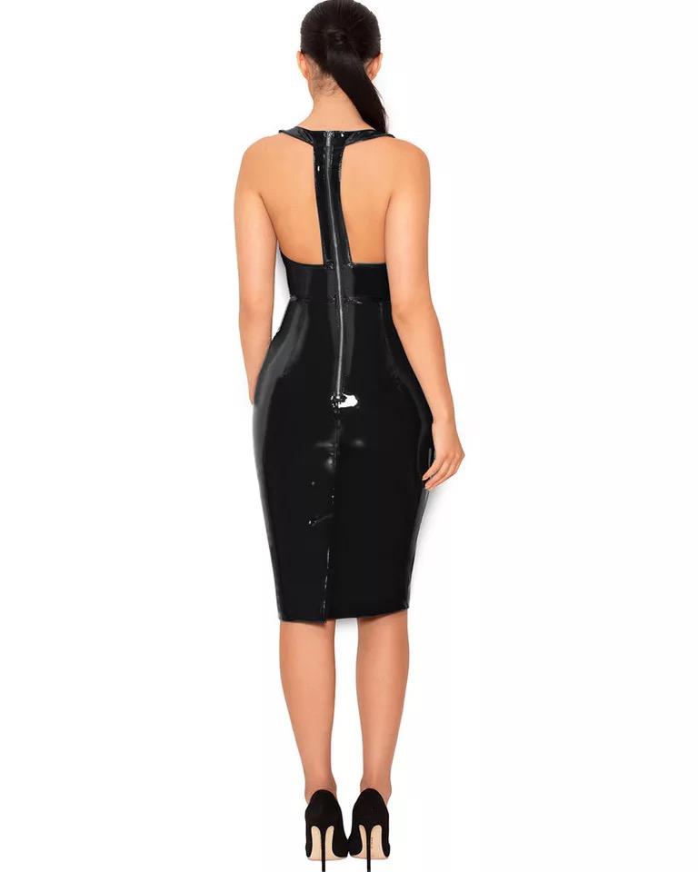 Черное латексное платье на молнии по спине киев