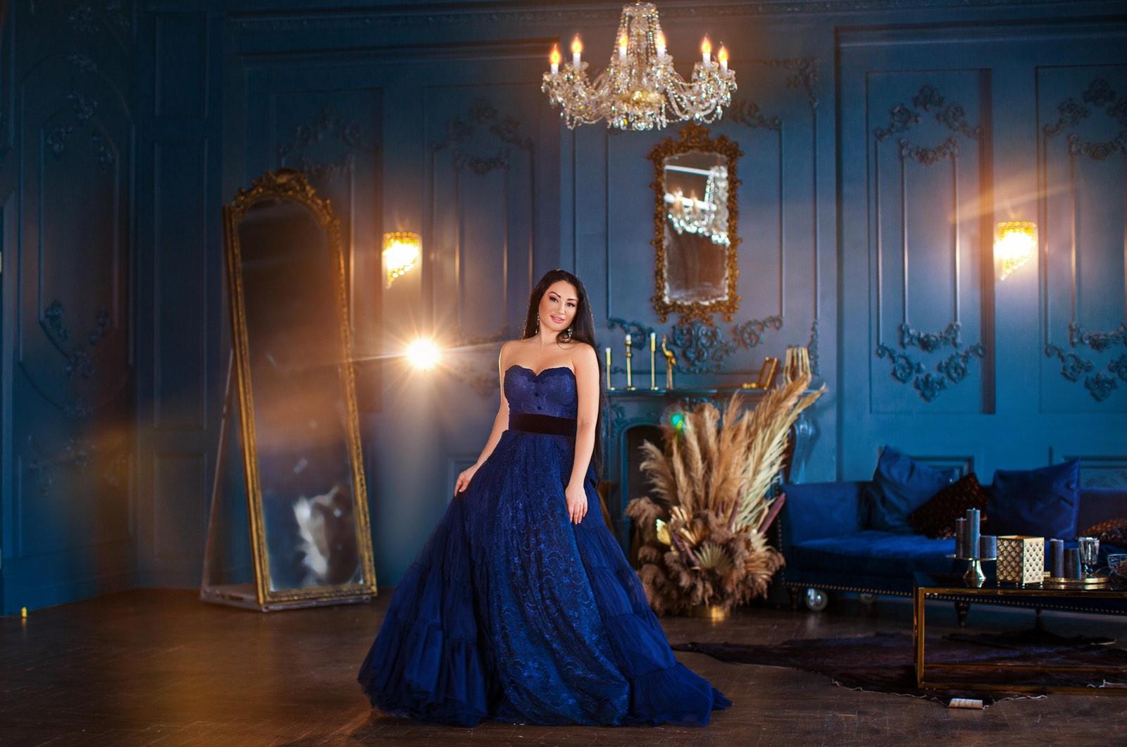 черно-синее платье прокат киев