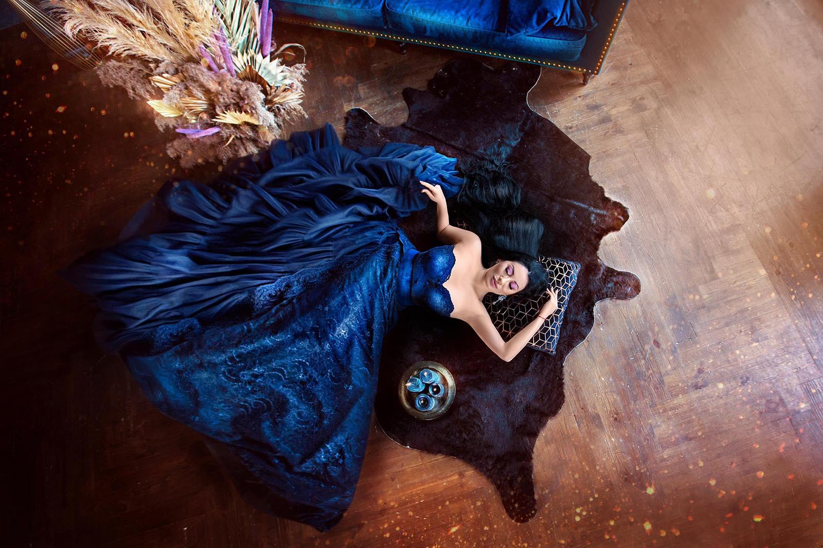 Пышное синее платье для фотосессии прокат киев