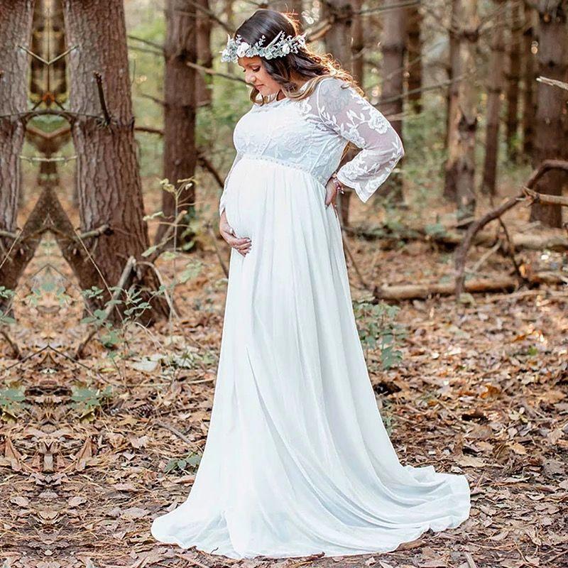 Белое платье в пол с кружевными руками для беременных