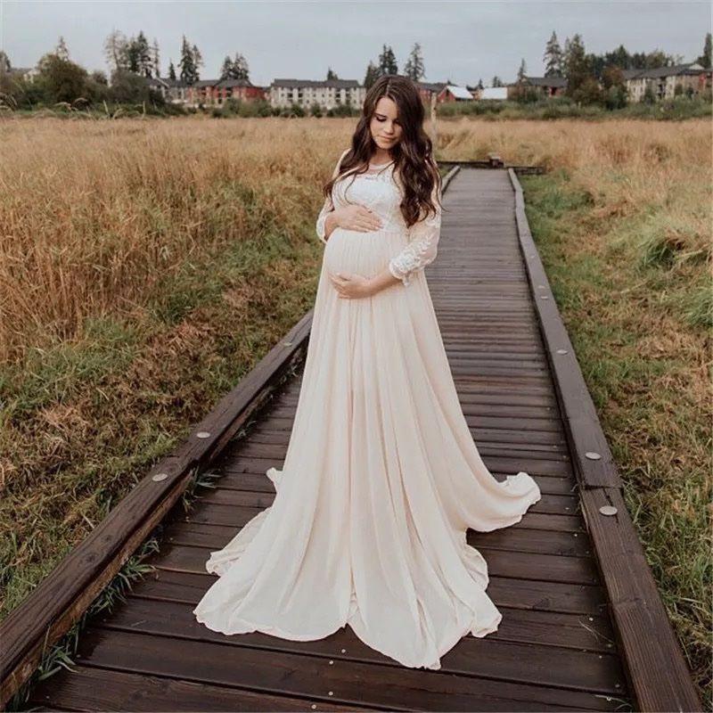 Белое платье в пол с кружевными руками для беременных прокат киев