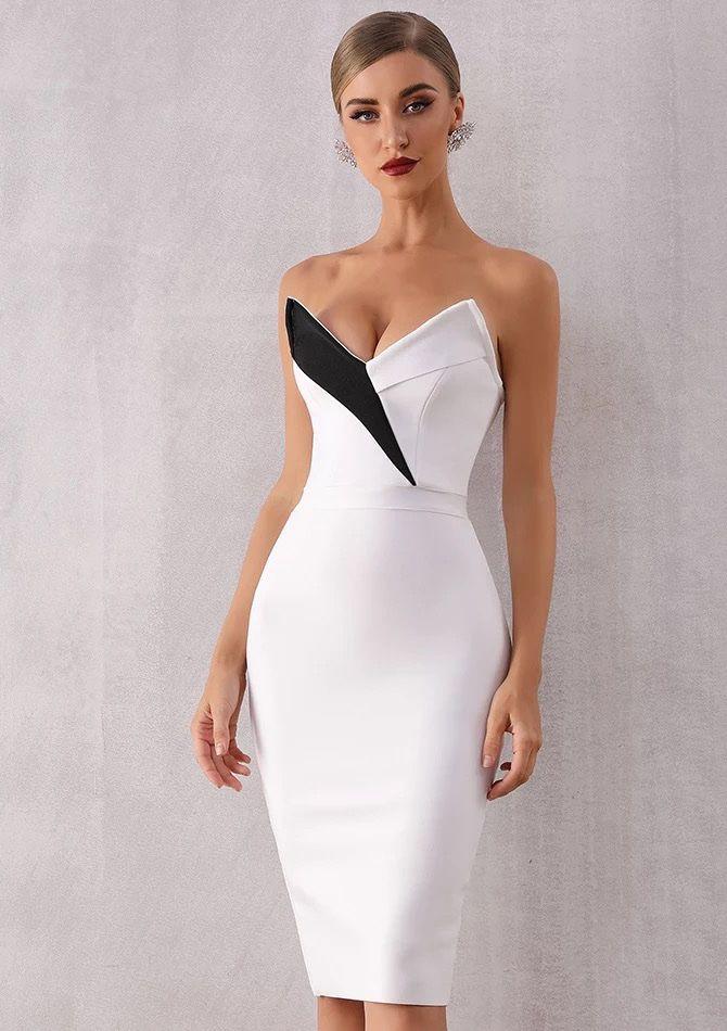 Короткое белое платье с декольте киев купить