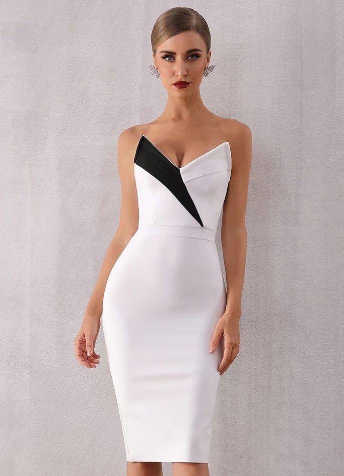 Короткое белое платье с декольте киев прокат
