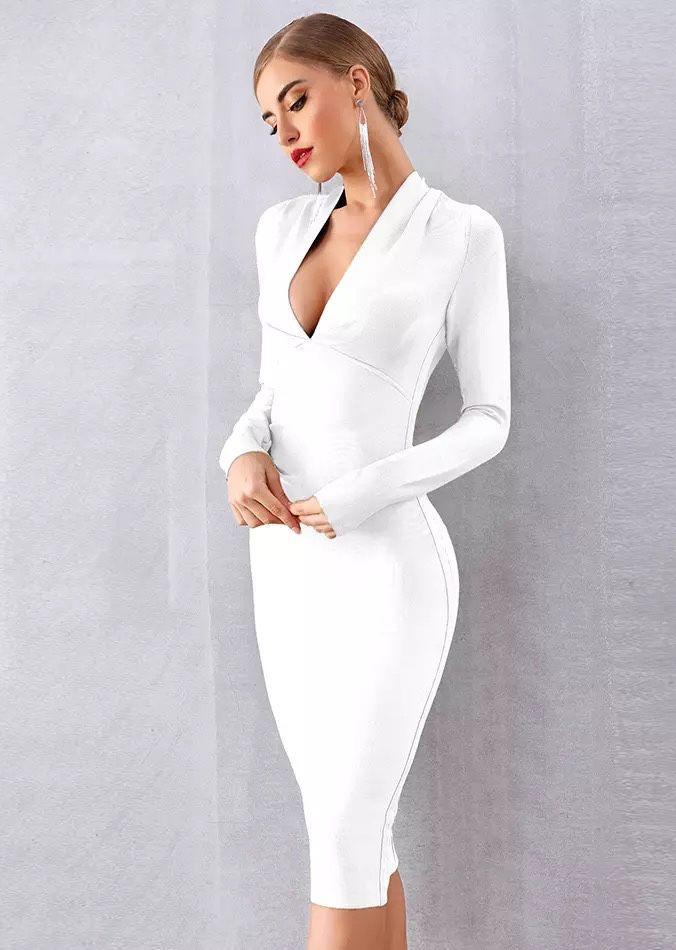 Белое деловое платье с рукавами прокат киев