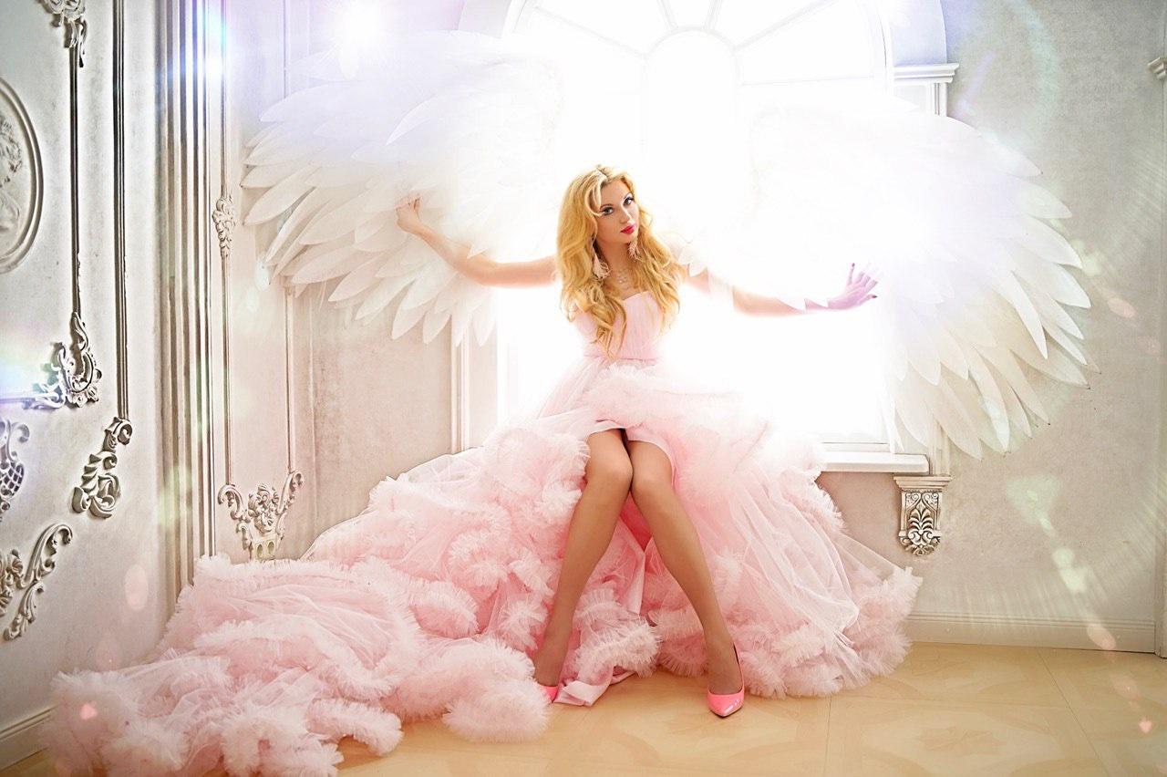 кудрявое розовое платье на прокат киев