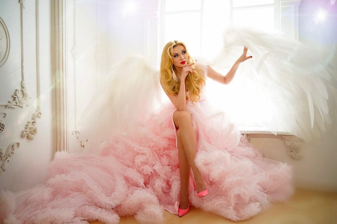 пышное розовое платье прокат аренда киев