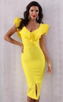 желтое короткое платье с воланом киев прокат