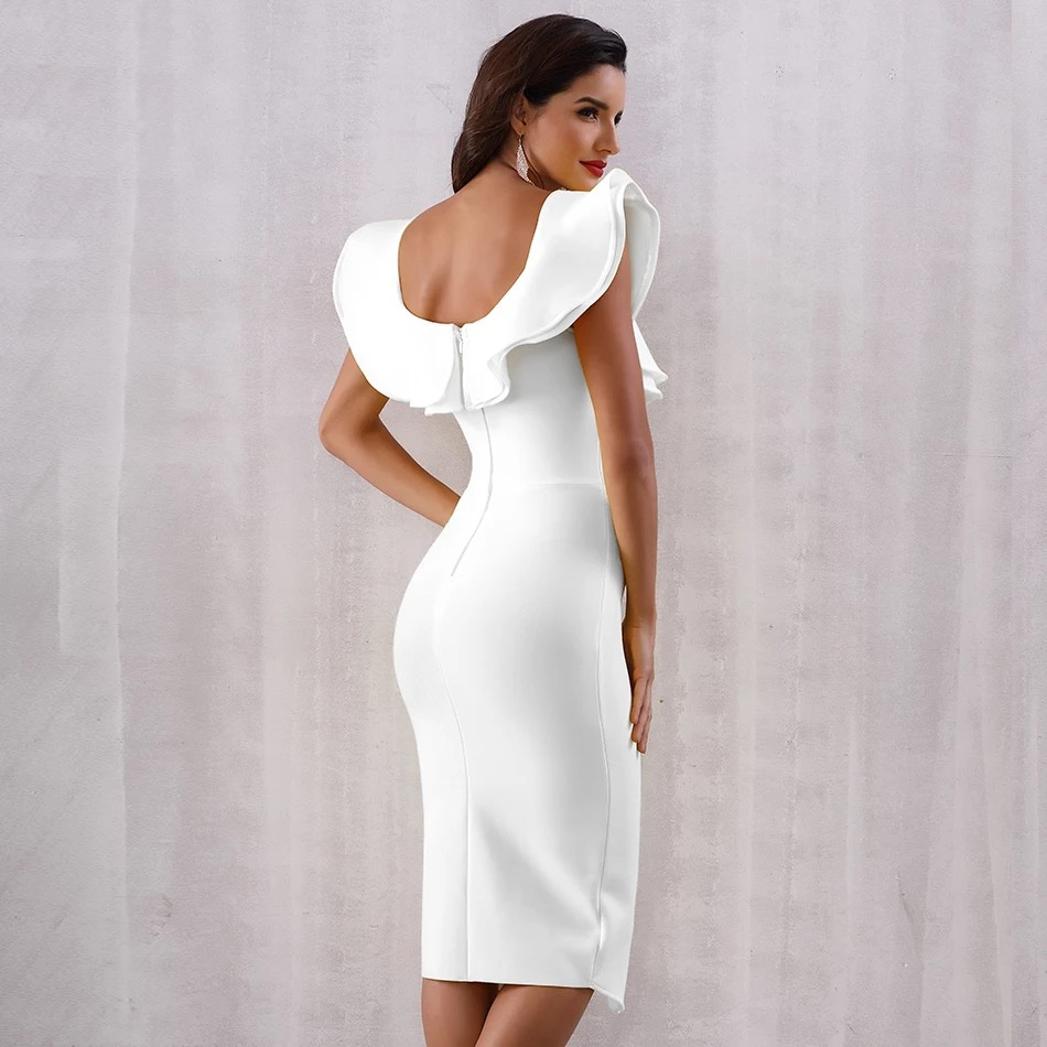 Короткое белое платье с воланом прокат аренда платье киев