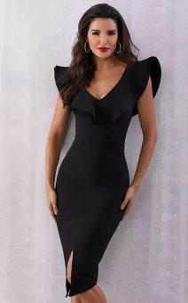 Короткое черное бандажное платье с воланом прокат киев