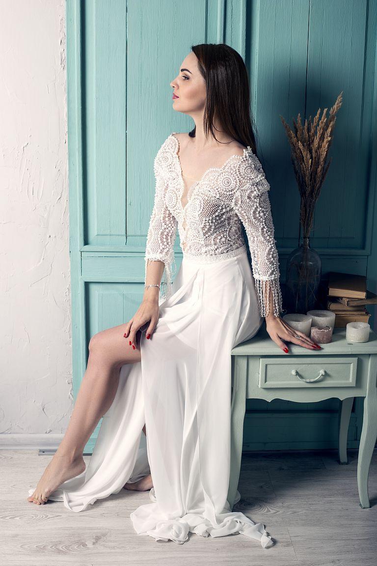 Белое свадебное платье в стиле бохо