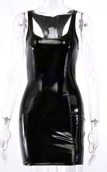 Чёрное латексное платье киев