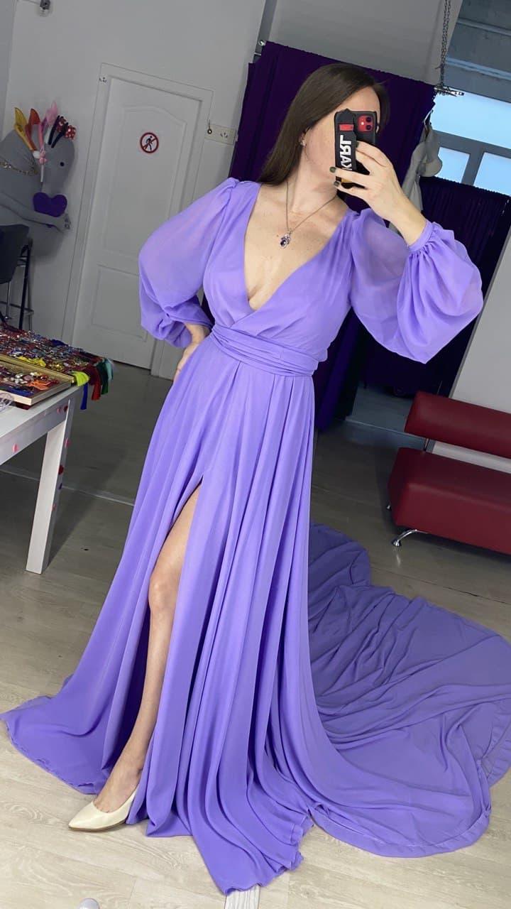 Лавандовое платье со шлейфом аренда прокат киев
