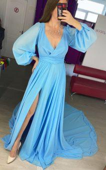 Голубое платье со шлейфом киев прокат аренда