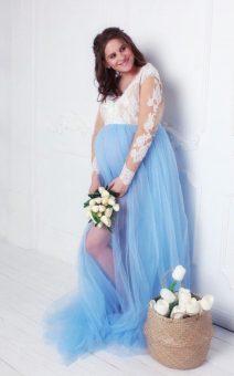 голубой халат для фотосессии беременности прокат киев