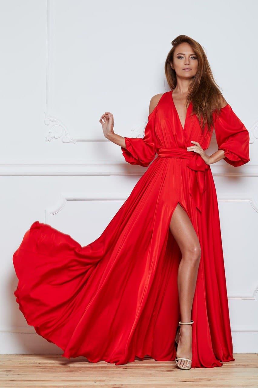 красное платье с разрезом прокат аренда киев