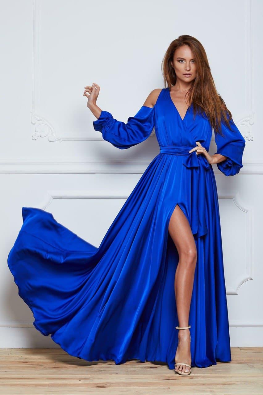 синее платье с разрезом прокат киев