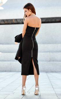 чёрное платье миди по фигуре прокат киев