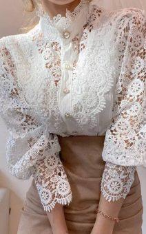 Ажурная блуза с воротником